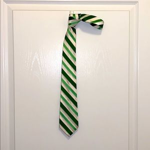 Men's express green and white stripe silk tie